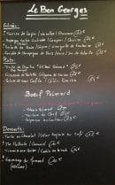 Menu Le Bon Georges - Un exemple de menu du jour