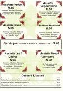 Menu Les 3 Cèdres - Assiettes, plats du jour et desserts
