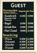 Menu Guest - Les formules, et le snacking