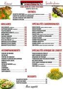 Menu Le Bois d'Ebène - Les entrées, les grillades, les spécialités ...
