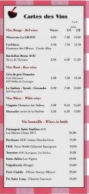 Menu Chez Arnaud - La carte des vins