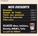 Menu French Pizza - desserts