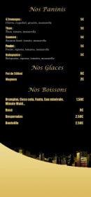 Menu Le Tassili - Les paninis, glaces et boissons