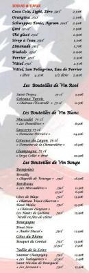 Menu Le Grill d'Oncle Sam - Les sodas, les eaux et vins