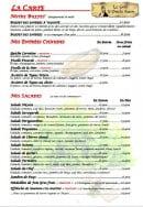 Menu Le Grill d'Oncle Sam - Les buffets, les entrées chaudes et salades