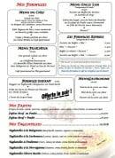 Menu Le Grill d'Oncle Sam - Les formules, les fajitas et tagliatelles