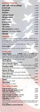 Menu Le Grill d'Oncle Sam - Les boissons, chaudes, les digestifs, les glaces...