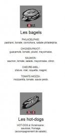 Menu Le Chien Rouge - Les bagels et hot-dogs