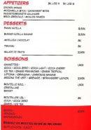 Menu Frenchie - Appétizers; desserts et boissons