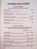 Menu L'Oasis - Les entrées et salades