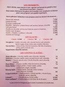Menu L'Oasis - Les desserts, glaces et coupes glacées