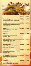 Menu Le Relais St Martin - Hamburgers