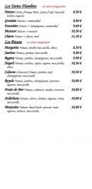 Menu L'iris - Tartes flambées et pizzas