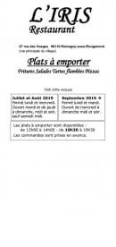Menu L'iris - Carte et menu L'iris Romagny Sous Rougemont