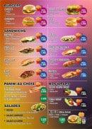 Menu Food street - Burgers, salades, panini,...