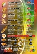 Menu Food street - Tacos, boissons, pains,....