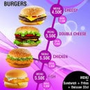 Menu Food street - Burgers