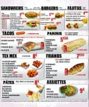 Menu Pizzarium - Sandwiches, tacos, tex mex,...