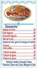 Menu Chez Quyên-Chi - Desserts suite