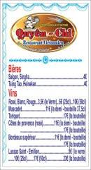 Menu Chez Quyên-Chi - Bières et vins