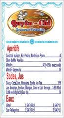 Menu Chez Quyên-Chi - Boissons