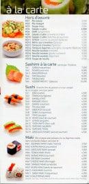 Menu Kyotoma - A la carte : sashimi, sushi et maki