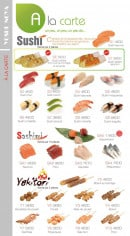Menu Yoshinoya - Les sushi: sushi thon, sushi omelette, sushi crevette,...
