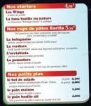 Menu Pizzatissima - Les Starters