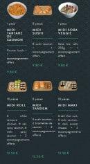 Menu Sushi soba - Les formules lunch