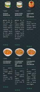 Menu Sushi soba - Les chirashis et tartares