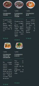 Menu Sushi soba - Les chirashis et tartares suite