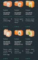 Menu Sushi soba - Les salmons et green rolls