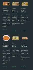 Menu Sushi soba - Les formules lunch suite