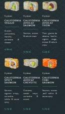 Menu Sushi soba - Les californias rolls