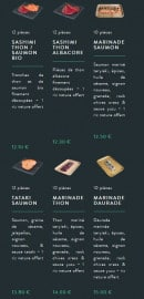 Menu Sushi soba - Les sashimis, tatakis et tiraditos page 2