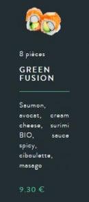 Menu Sushi soba - Le green fusion