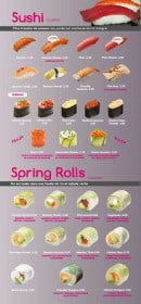 Menu Sushi VIP - Les sushis et les springs rolls