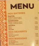 Menu O'dabali - Entrées, desserts et boissons