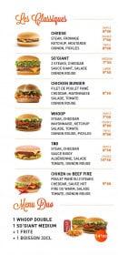 Menu Warm Burger - Classiques et menu duo