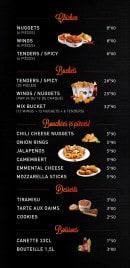 Menu Warm Burger - Chicken, buckets, bouchées,...