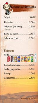 Menu Taste Food Night - Desserts et boissons