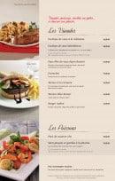 Menu Bistro Romain - les plats de viande et de poisson