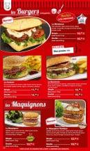 Menu La Boucherie - les burgers