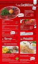 Menu La Boucherie - carpaccios, terroir et poissons