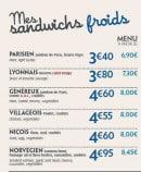 Menu Pomme de Pain - les sandwichs froids