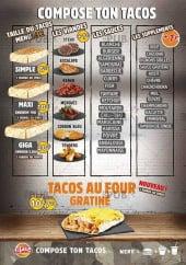 Menu Le Ptit Palavace 2 - Compositions tacos
