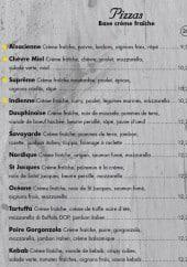 Menu Plazza Pizza - Les pizzas à base crème