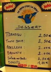 Menu Aux Délices - Les desserts