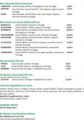 Menu Pizza Ticchio - Les pizzas suite, les lasagnes et desserts