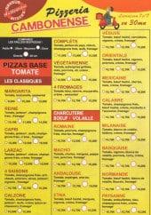 Menu Pizza Cambonense - Les pizzas : margarita, reine...